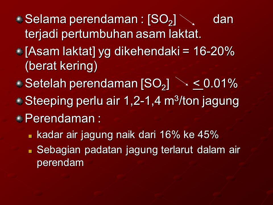 Selama perendaman : [SO2] dan terjadi pertumbuhan asam laktat.